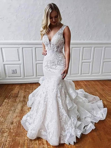 V Neck Sleeveless Backless Covered Button Mermaid Wedding Dresses_1