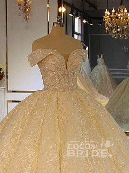 Luxury Off-the-Shoulder Lace-Up Ball Gown Wedding Dresses with Beading_3
