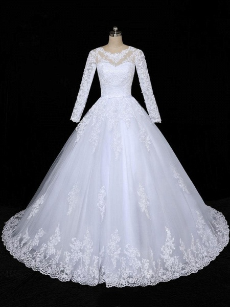Glamorous Long Sleeves Lace Applique Tulle Wedding Dresses_1