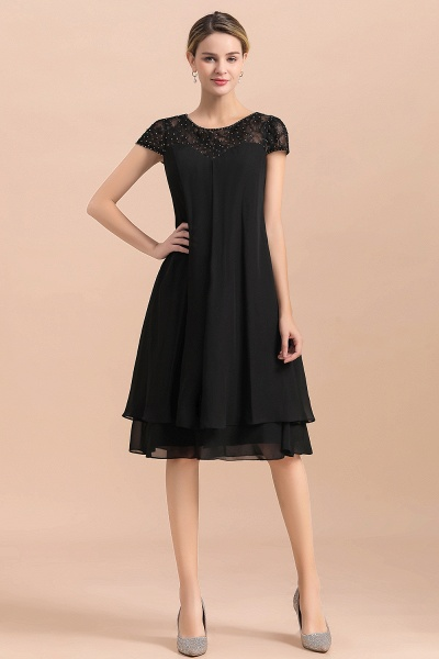 Chiffon Black Cap Sleeve Short Mother of Bride Dress