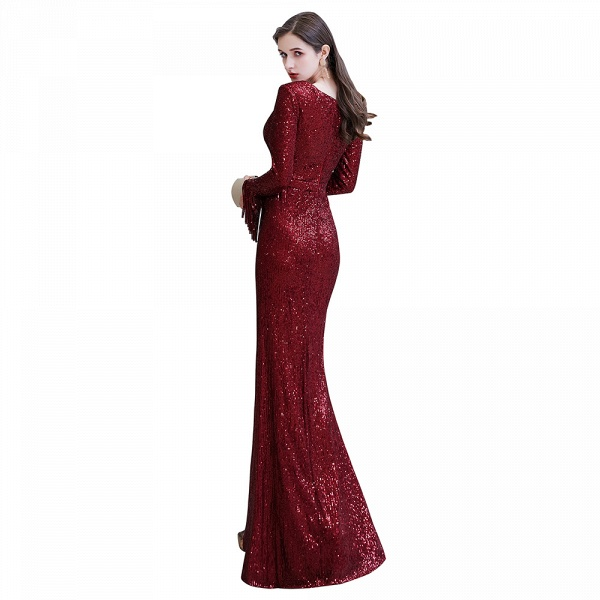 Gorgeous Sequins Long Sleeve V-Neck Mermaid Evening Gowns_27