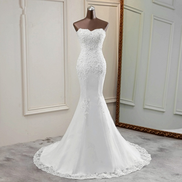Chic Long Mermaid Strapless Lace Appliques Wedding Dress with Beadings_8