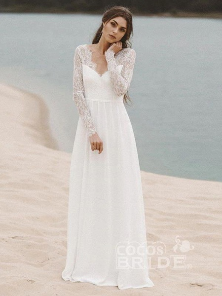 Gorgeous Long Sleeves V-Neck Backless A-Line Wedding Dresses_2