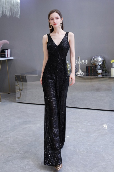 Sexy Shining V-neck Sleeveless Prom Jumpsuit with Silver Sequins_12