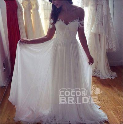 Simple A-Line Appliques Ivory Chiffon Beach Wedding Dress_3