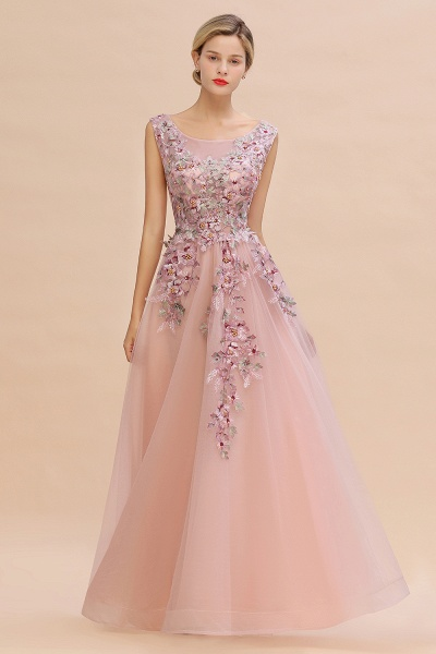 Gorgeous Dusty Pink Tulle Long Lace Appliques Prom Dress_5