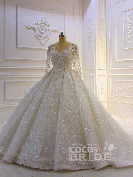 Luxury Shinny Three Quarter Sleeve Lace Beading Ball Gown Wedding Dresses_2