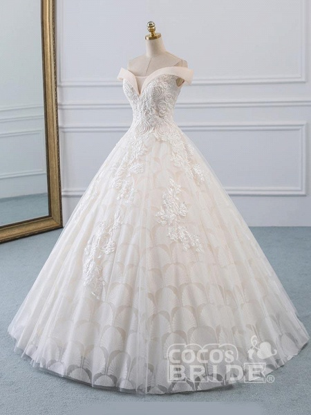 Popular Off-the-Shoulder Lace-Up Ball Gown Wedding Dresses_2