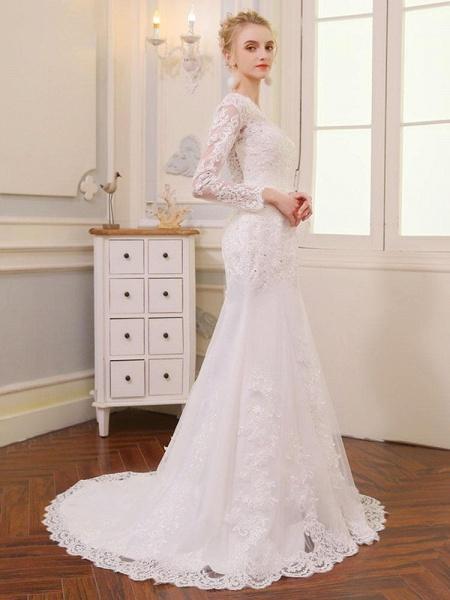 V-Neck Long Sleeves Lace Mermaid Wedding Dresses_1