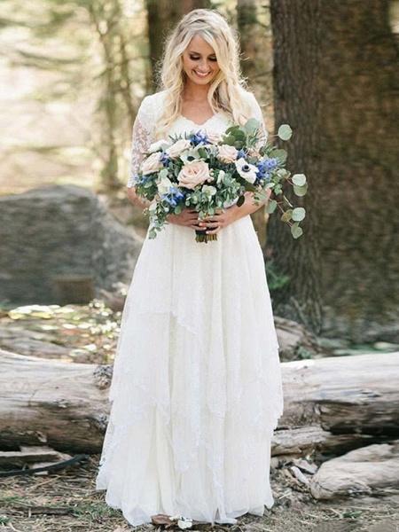 Elegant Half Sleeves V-neck Lace Boho Wedding Dress_1