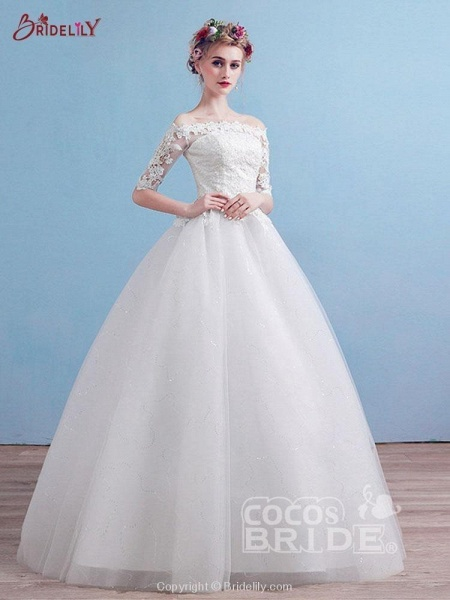 Elegant Off-the-Shoulder Long Sleeves Lace Ball Gown Wedding Dresses_2