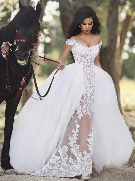 Lovely Lace Mermaid Wedding Dresses With Detachable Skirts_1