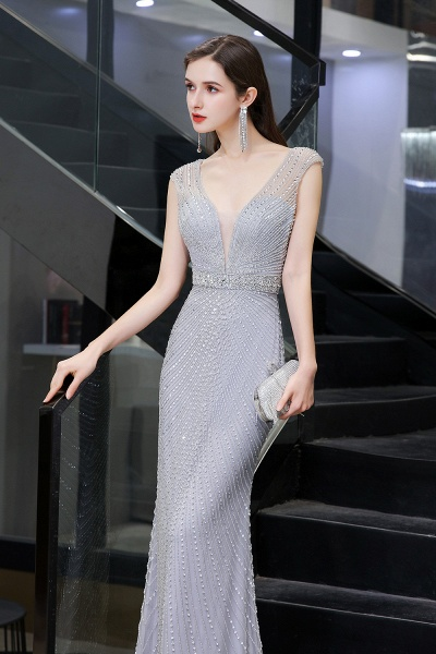 Sexy Mermaid V-neck Silver Long Prom Dress_10