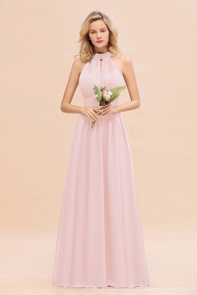 BM0758 Glamorous High-Neck Halter Bridesmaid Affordable Dresses with Ruffle_3