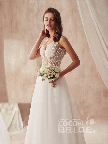 Popular Dress V-neck Beading Tulle Ruffles Wedding Dresses_4
