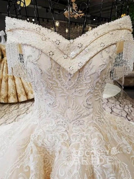 V-Neck Off-the-Shoulder Ball Gown Wedding Dresses Beaded Appliques_3