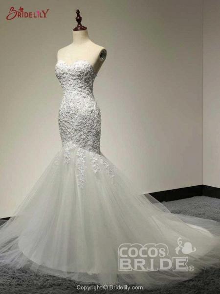 Fashion Sweetheart Mermaid Tulle Wedding Dresses_2