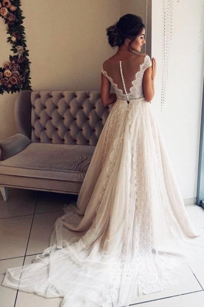 A-Line Scalloped-Edge Lace with Sheer Back Ivory Tulle Wedding Dress_2