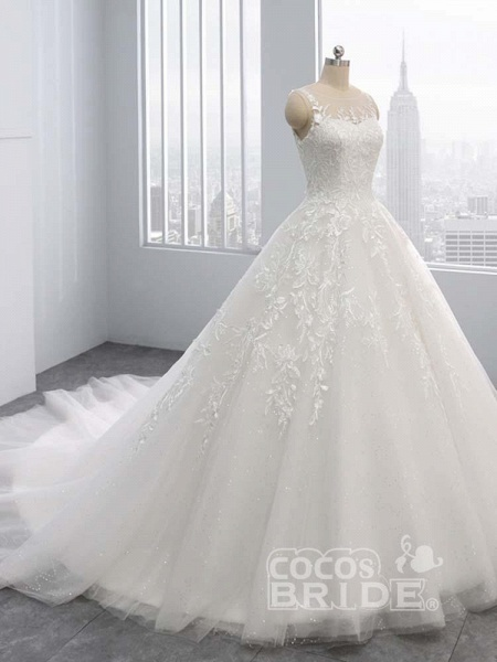 Gorgeous Lace-Up Sweep Train Ball Gown Wedding Dresses_2