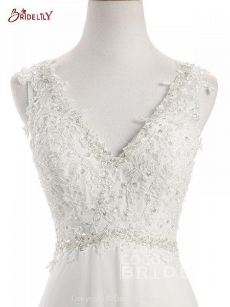 Elegant V Neck Lace Chiffon A-Line Wedding Dresses_4