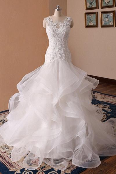 White Lace Ruffled Long Corset Bridal Mermaid Wedding Dress_1
