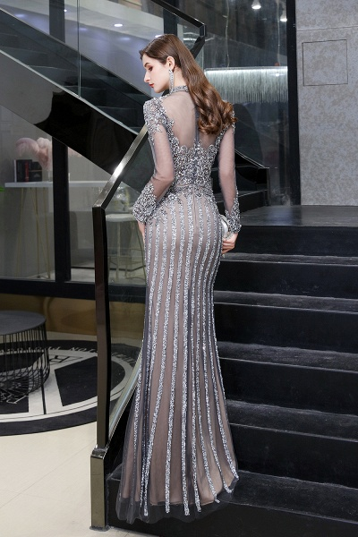Long Sleeve Mermaid Sequins High-Neck Evening Gowns_10