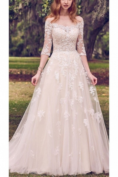 Vintage Off the Shoulder Tulle with Lace Appliqued Long Train Wedding Dress_1