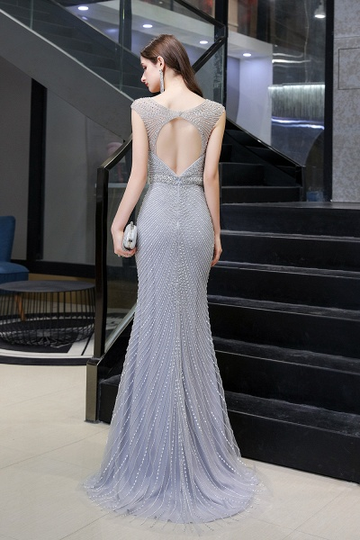 Sexy Mermaid V-neck Silver Long Prom Dress_12