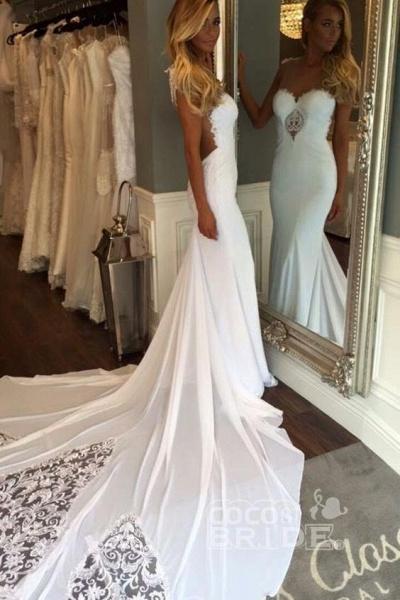 Pretty Sheath Sleeveless Long Beach with Lace Wedding Dress_3