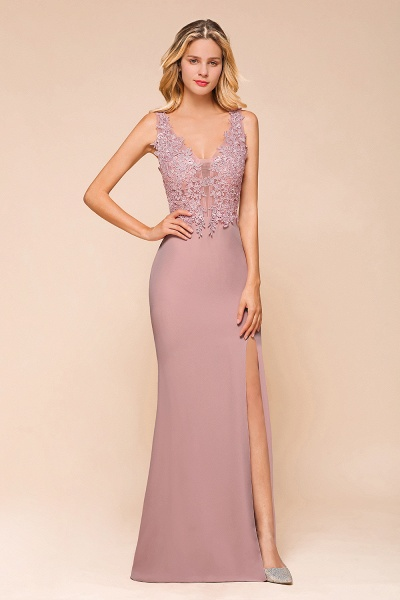 Dusty Pink Mermaid Lace Long Sleeveless Evening Gowns_4