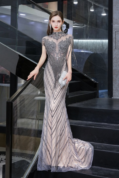 High Neck Cap sleeves Sparkle Beads Long Prom Dresses_7