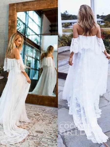 Casual Lace Beach Flowy A-Line Wedding Dresses_3