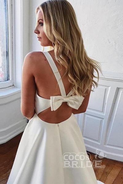 Charming V-neck Bow Back A-Line Wedding Dress_2