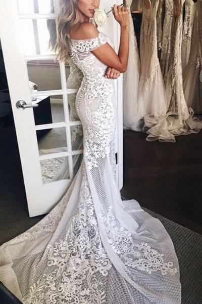 Mermaid Lace Appliques Sheer Mermaid Wedding Dress_1