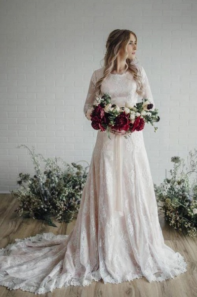 A Line Long Sleeve Lace Vintage Wedding Dress_1