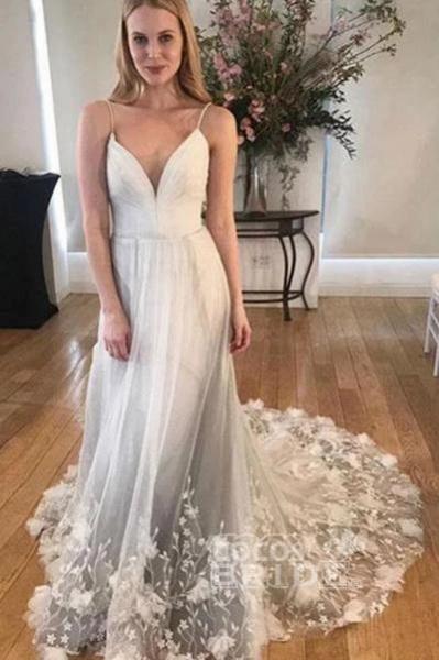 Spaghetti Strap V Neck Tulle Lace Appliques Long Wedding Dress_2
