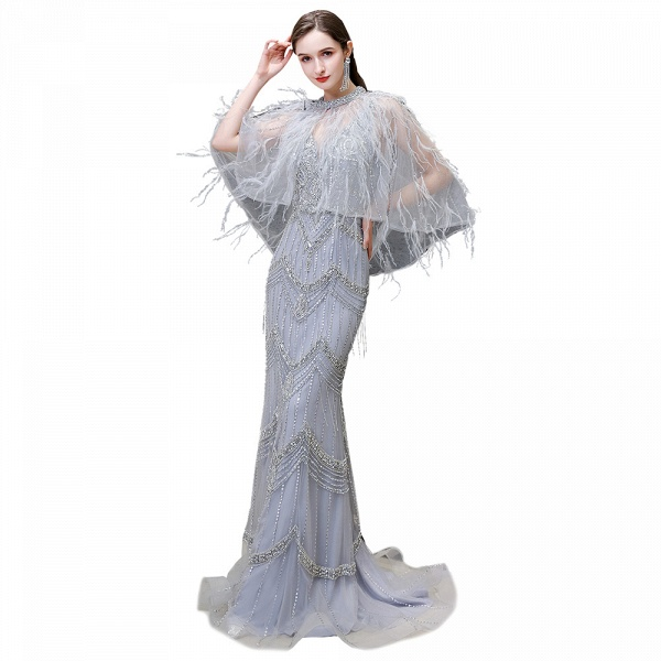 Gorgeous Silver Feather Cape Mermaid Sparkle Prom Dresses_12
