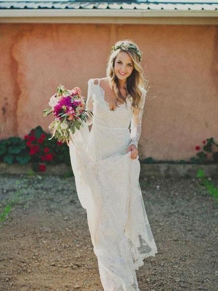 Modest Long Sleeves Lace Illusion Boho Mermaid Wedding Dresses_1