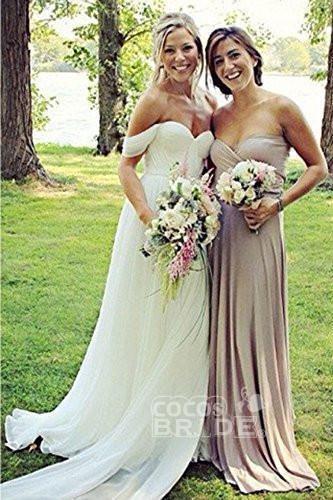 Flowy Off the Shoulder Chiffon Beach Simple Long Pleated Wedding Dress_5