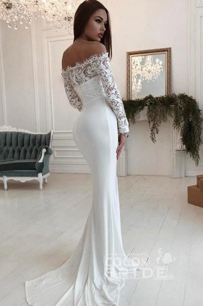 Mermaid Long Sleeves Off the Shoulder Wedding Dress_3