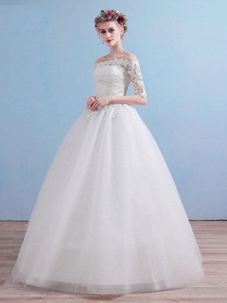 Elegant Off-the-Shoulder Long Sleeves Lace Ball Gown Wedding Dresses_1
