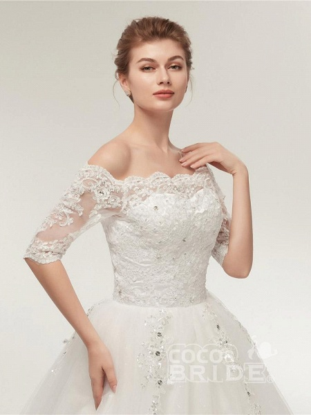 Off-the-Shoulder Half Sleeves Lace Ball Gown Wedding Dresses_5