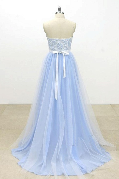Aqua Blue And Ivory Tulle Strapless Long Lace Wedding Dress_2