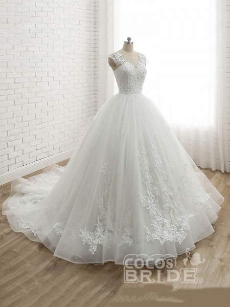 Lace-Up Tulle Ball Gown Wedding Dresses_2