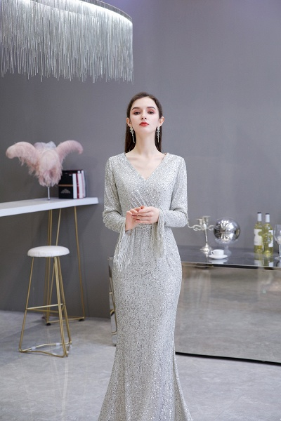 Gorgeous Sequins Long Sleeve V-Neck Mermaid Evening Gowns_6