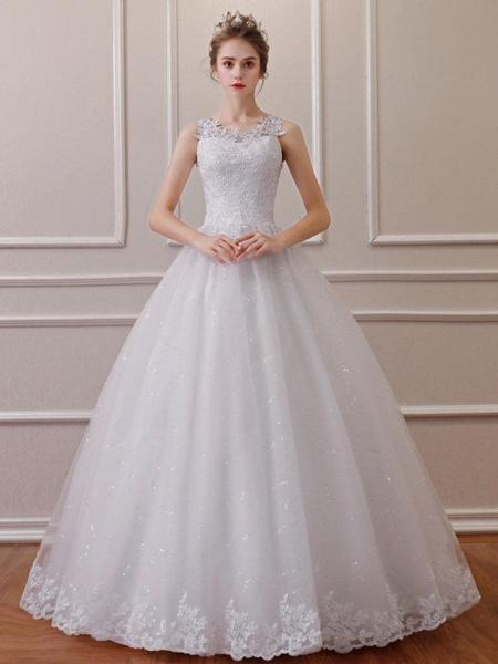 Elegant Sleeveless Lace Ball Gown Wedding Dresses_1