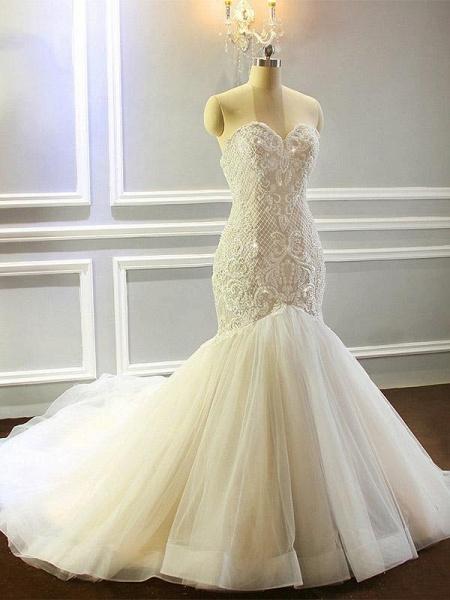 Sweetheart Lace- Up Mermaid Wedding Dresses with Full Beading_1
