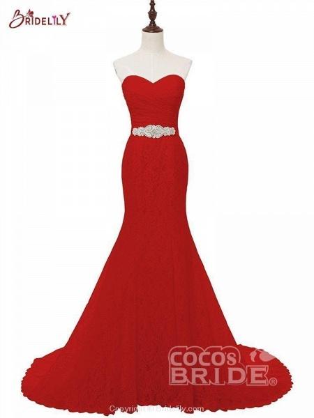 White Sweetheart Lace Mermaid Sash Wedding Dresses_3