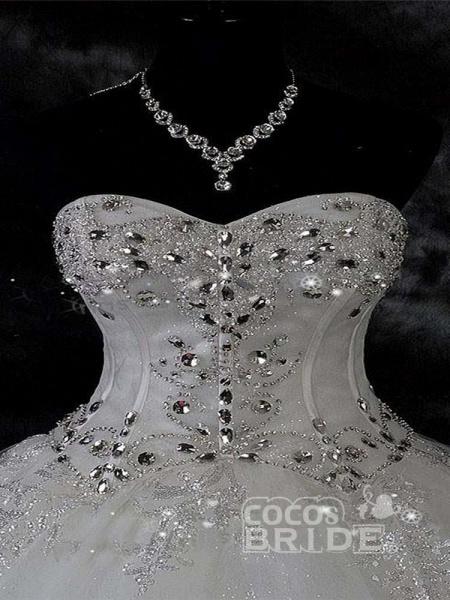 Modest Sweetheart Beaded Ball Gown Wedding Dresses_3