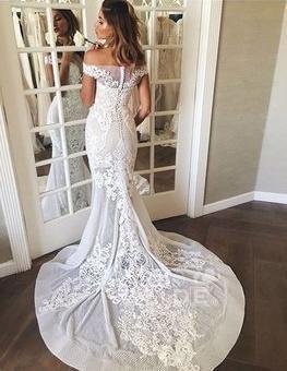 Mermaid Lace Appliques Sheer Mermaid Wedding Dress_4